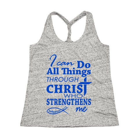 Be Strong & Courageous Joshua 1:9 Bible Verse Workout Twist Back Tank Top