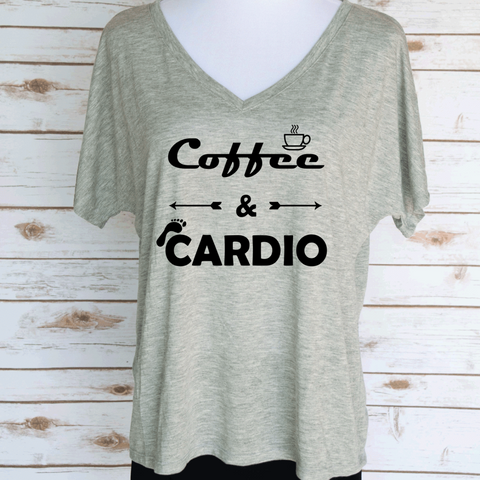 Coffee & Cardio Slouchy V-Neck T-Shirt. Coffeee Lover Themed T-Shirt. Women's Casual Graphic Tees