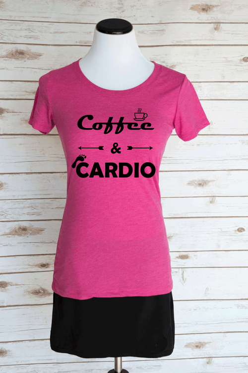 Coffee & Cardio Casual Graphic T-Shirt. Funny Motivational Workout Quote. Scoop Neck Triblend Tee.