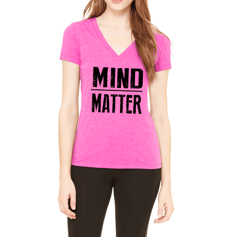 Mind over Matter V-Neck T-Shirt. Motivational Workout Quote. Triblend Tee.