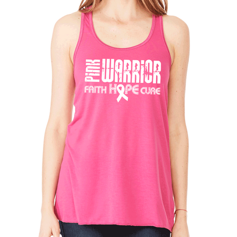 Pink Warrior: Faith, Hope, Cure Breast Cancer Month Flowy Tank Top.