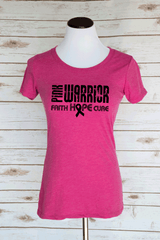 Pink Warrior Faith Hope Cure Breast Cancer Shirt. Scoop Neck Triblend T-Shirt.