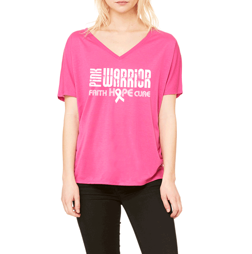 Pink Warrior Faith, Hope, Cure Breast Cancer Awareness Slouchy V-Neck T-Shirt.
