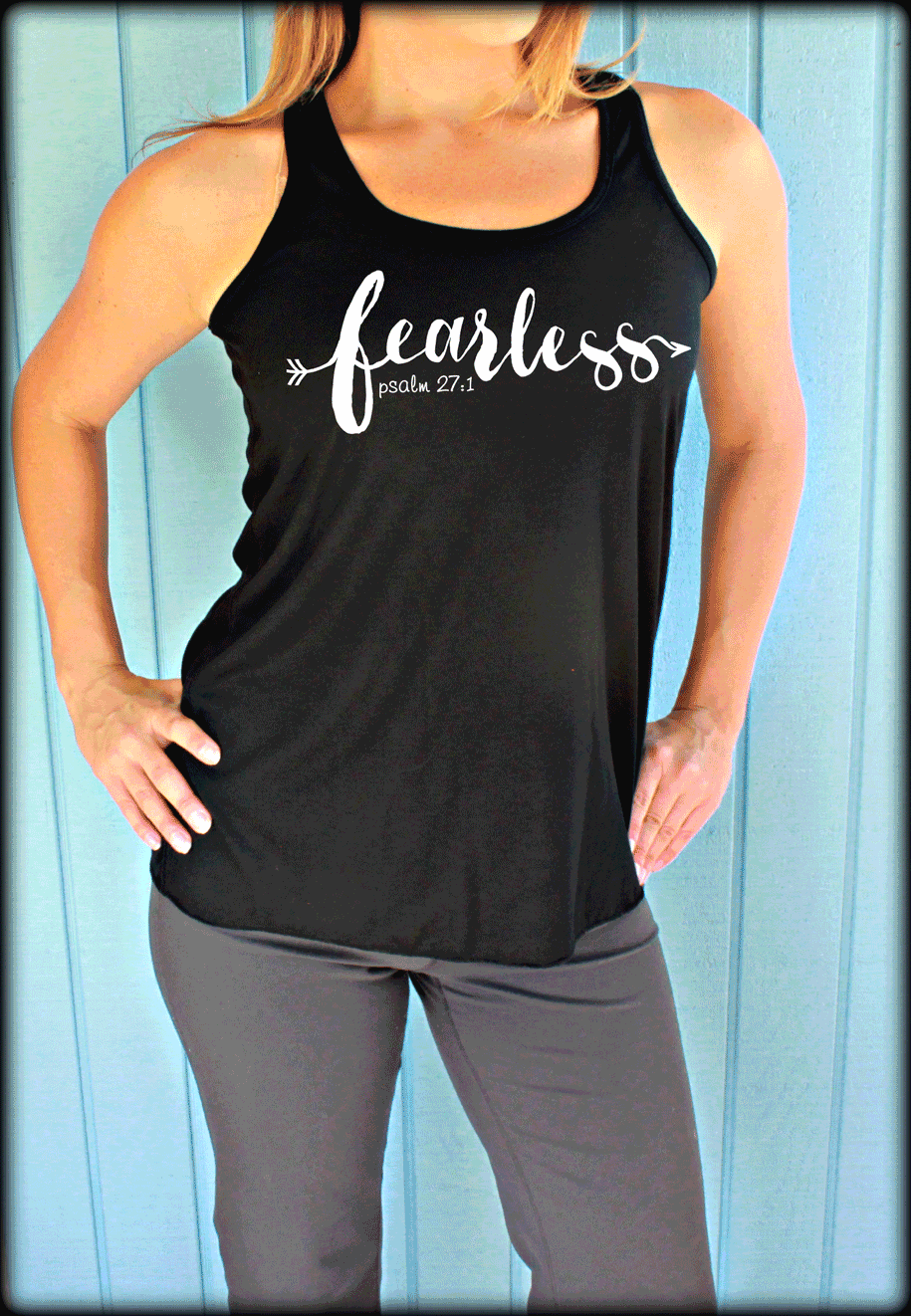 Fearless Psalm 27:1 Christian Womens Flowy Bible Verse Workout Tank Top