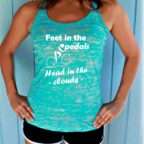 Feet in the Pedals Head in the Clouds Bike Tank Top. Womens Cycling Clothes. Burnout Bicycle Tank.