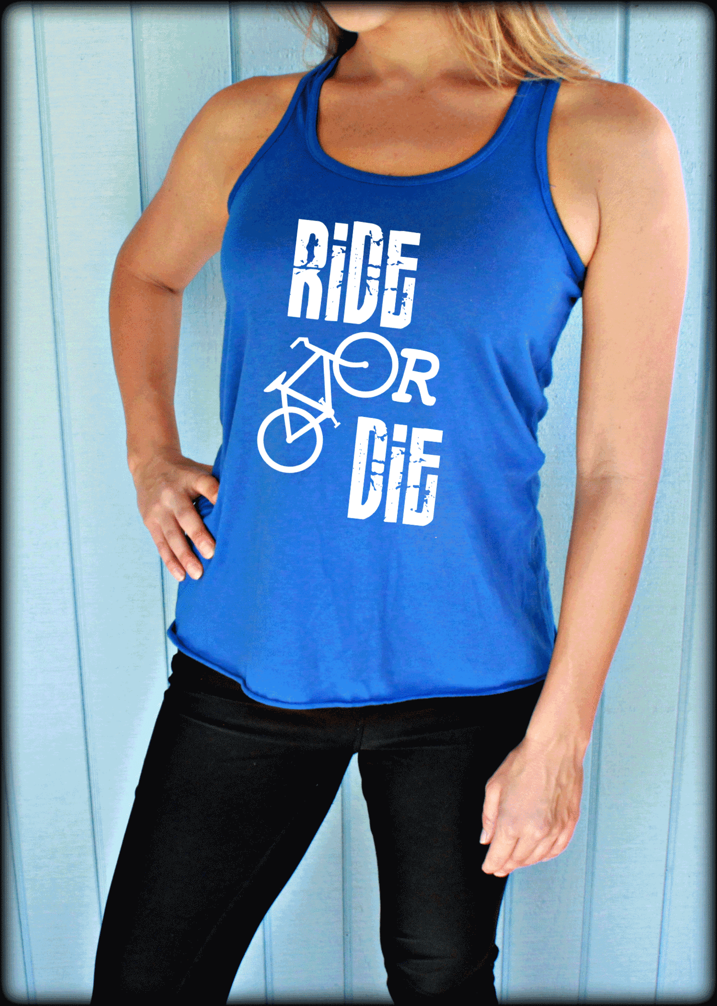Ride or Die Flowy Bicycle Workout Tank Top. Fitness Motivation.