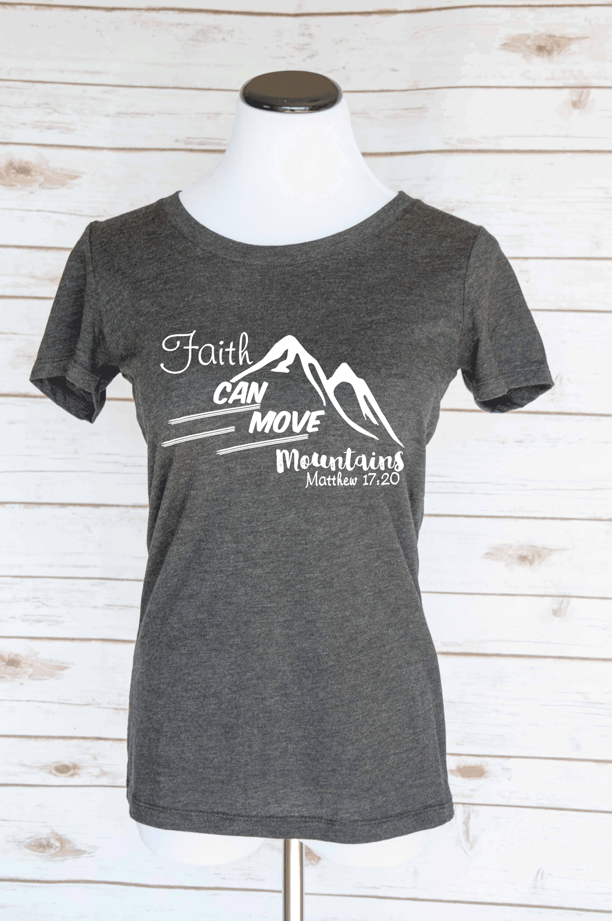Faith Can Move Mountains Matthew 17:30 Bible Verse T-Shirt. Christian Quote. Scoop Neck Triblend Tee.