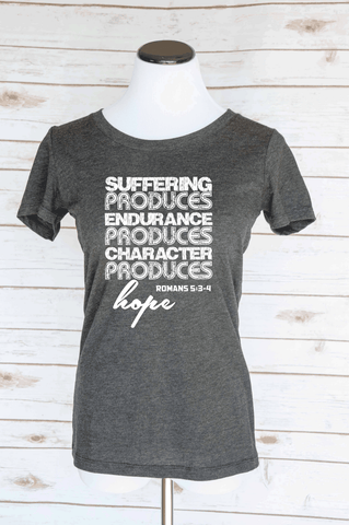 Suffering Hope Romans 5: 3-4 Bible Verse Scoop Neck Tee. Christian T-Shirts.