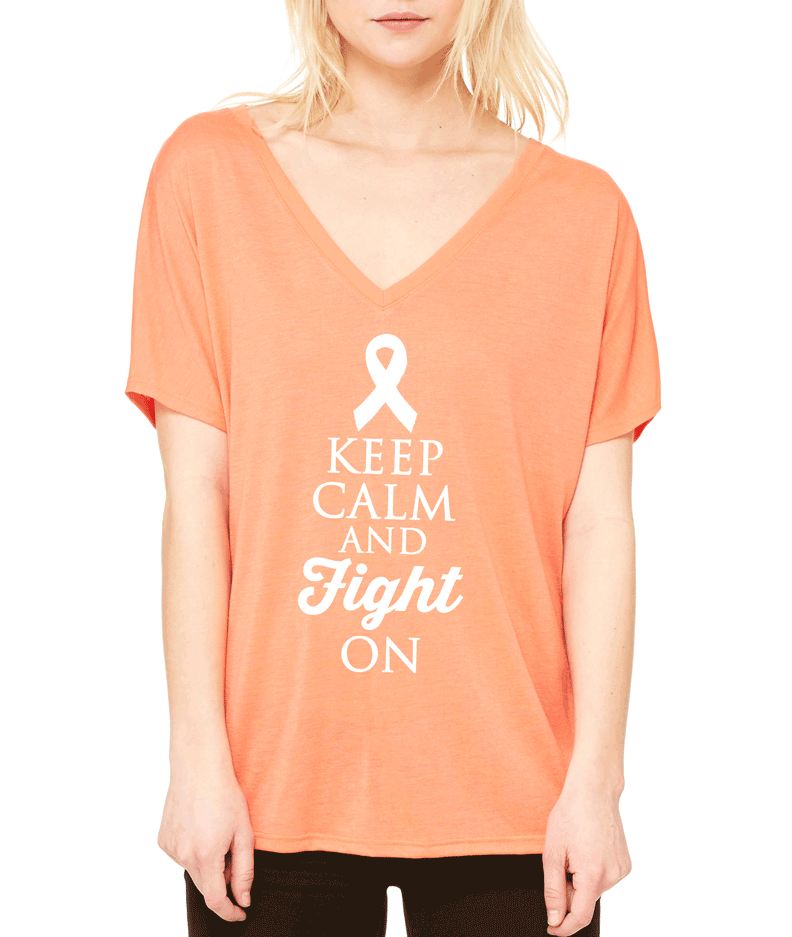 Keep Calm and Fight On Breast Cancer Awareness Slouchy V-Neck T-Shirt.