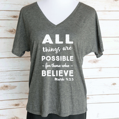 All Things Are Possible Bible Verse Mark 9:23 Slouchy V-Neck T-Shirt