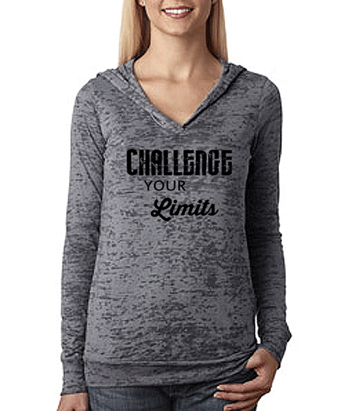 Challenge Your Limits Pullover Unisex Burnout Workout Hoodie