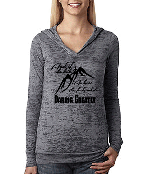 At Least She Fails While Daring Greatly Burnout Hoodie