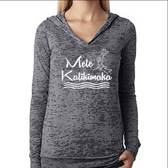 Womens Pullover Burnout Hoodie. Christmas Shirt. Mele Kalikimaka. Womens Hoody. Hawaiian Shirt. Gift for Christmas. Holiday Clothing.