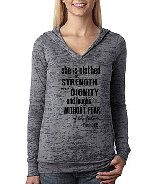 Strength & Dignity Proverbs 31 25 Christian Womens Workout Hoodie