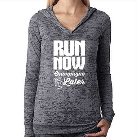 Womens Pullover Running Workout Hoodie. Run Now Champagne Later. Unisex Burnout Hoodie. Motivational Shirt.