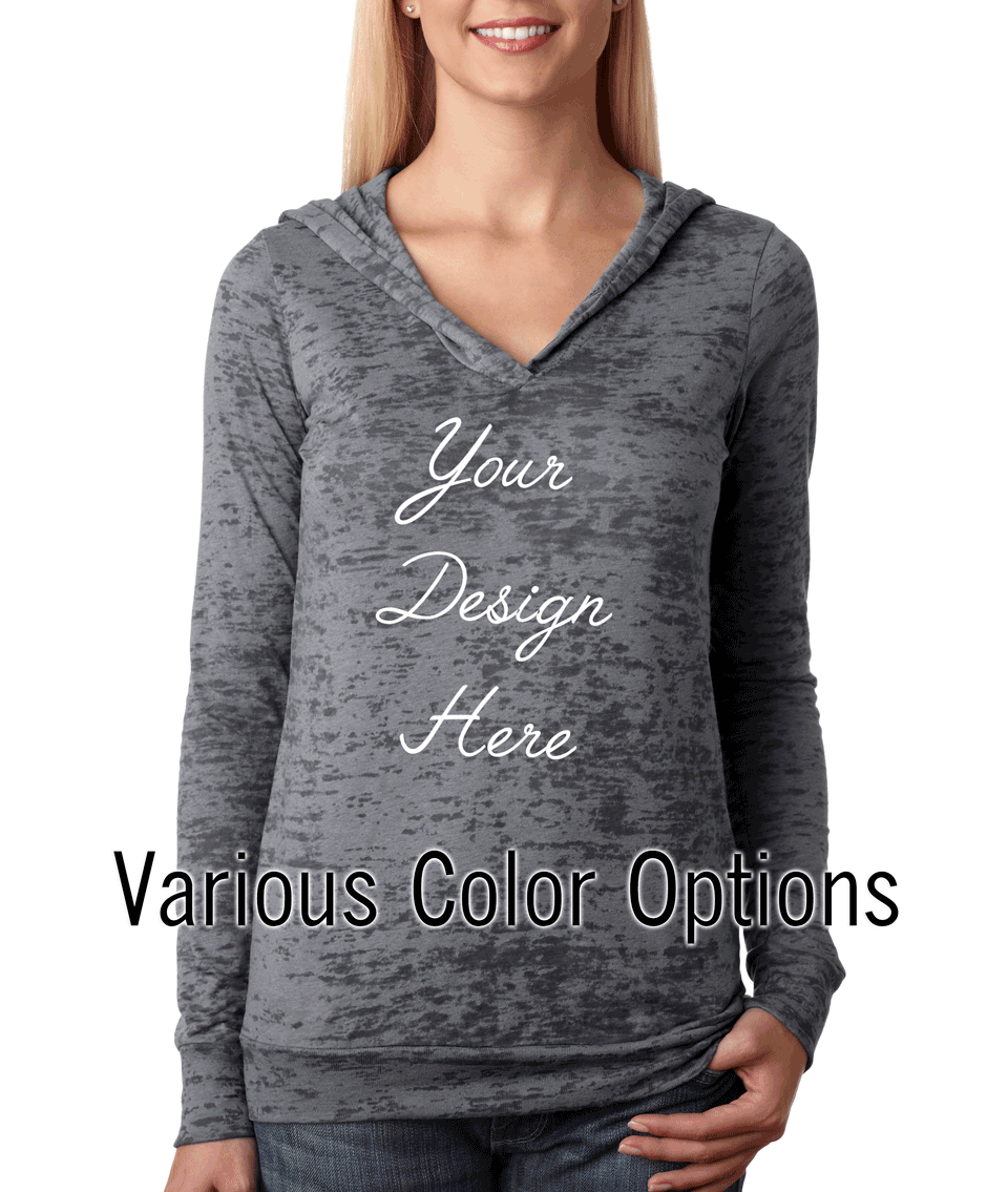 Custom Designed Women's Burnout Hoodie Long Sleeve Shirt