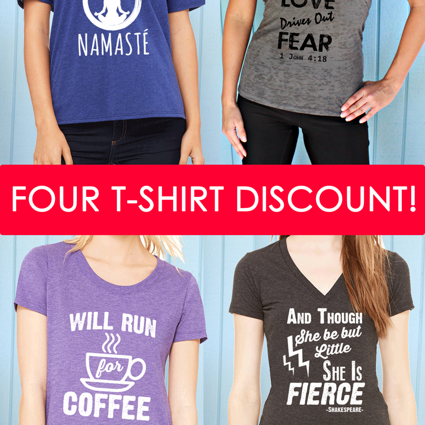 Four T-Shirt Bundle. Scoop or V Neck Fitness Motivation T-Shirts.