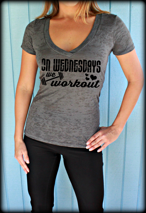 On Wednesdays We Workout Womens Burnout Workout V-Neck T-Shirt