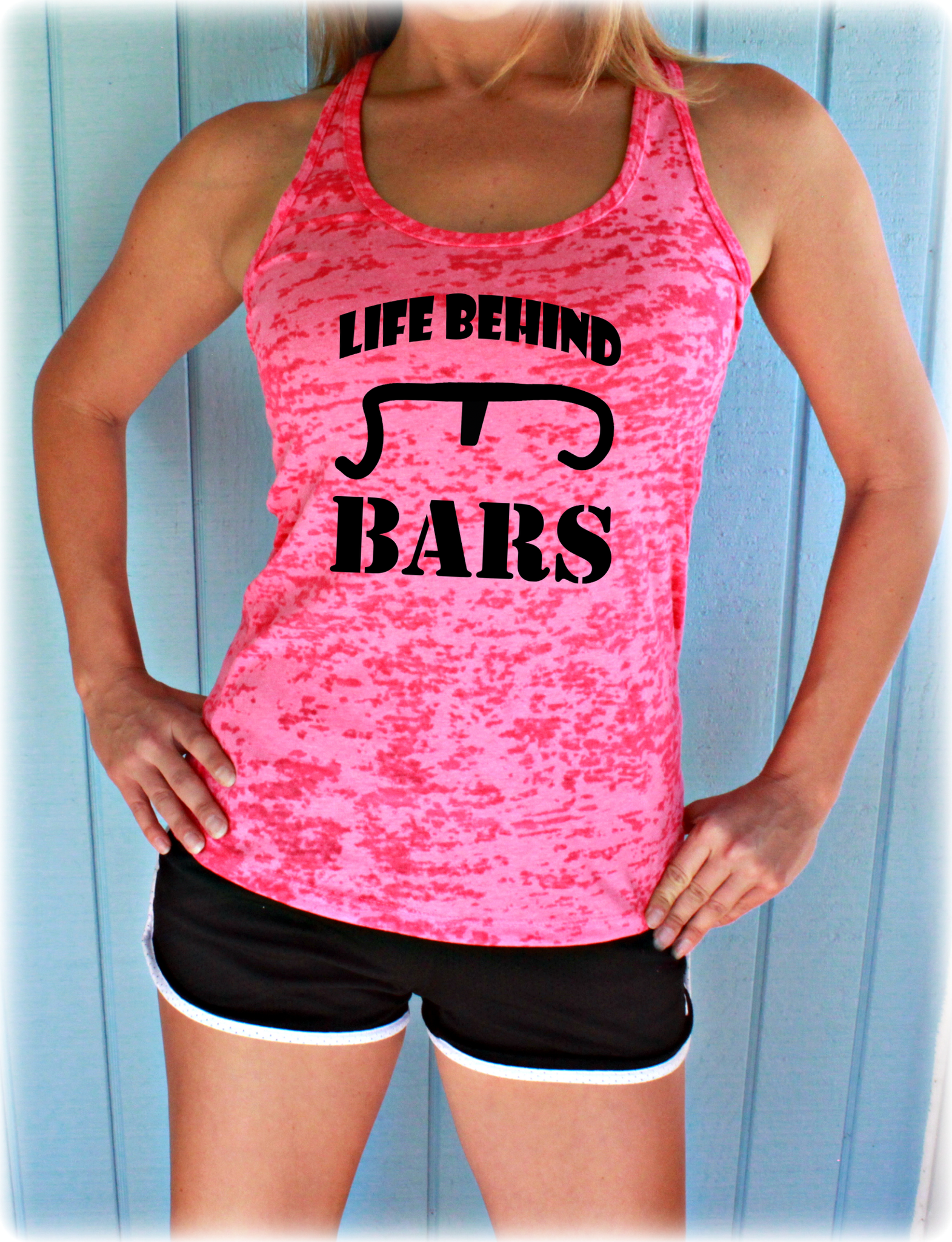 Life Behind Bars Bike Tank Top. Womens Cycling Clothes. Burnout Bicycle Tank.
