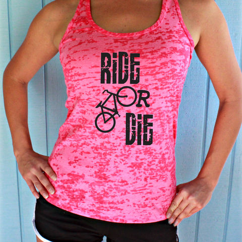 Ride or Die Bike Tank Top. Womens Cycling Clothes. Burnout Bicycle Tank.
