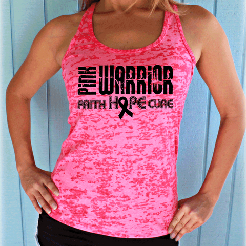 Pink Warrior Faith Hope Cure Breast Cancer Month Burnout Tank Top.