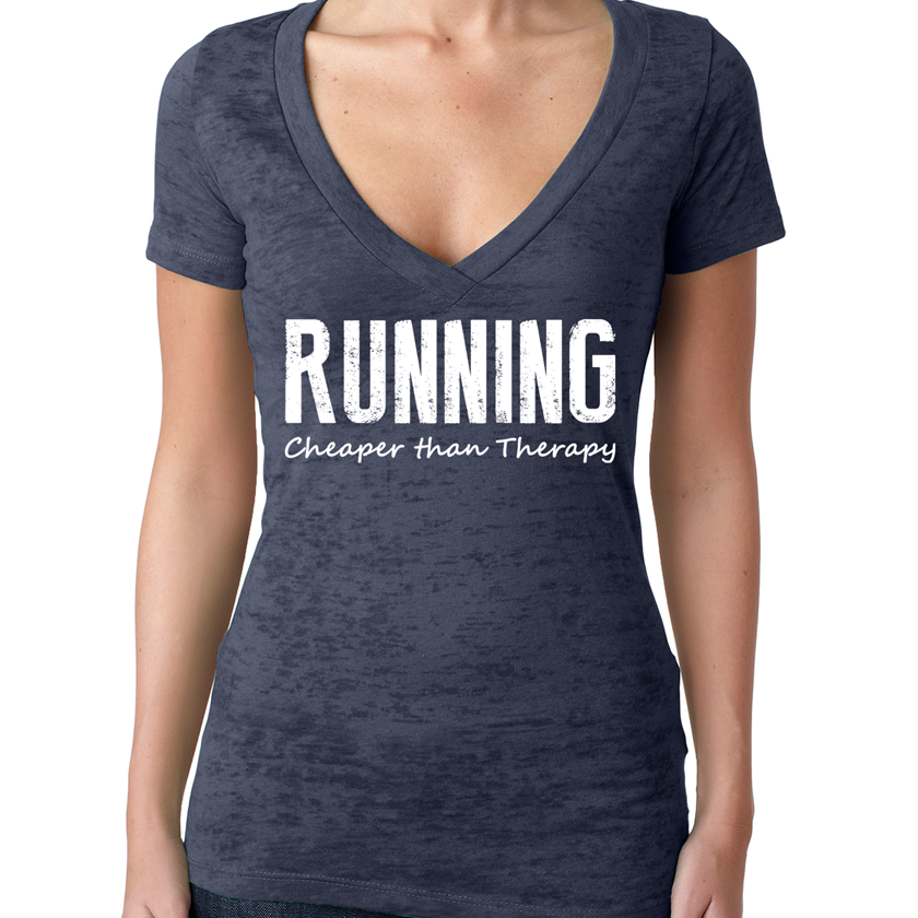 Running Cheaper Than Therapy Womens Burnout Workout V-Neck T-Shirt