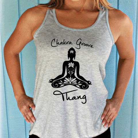 Chakra Groove Thang Flowy Yoga Workout Tank Top. Seven Chakras Shirt. Womens Fitness Motivation.