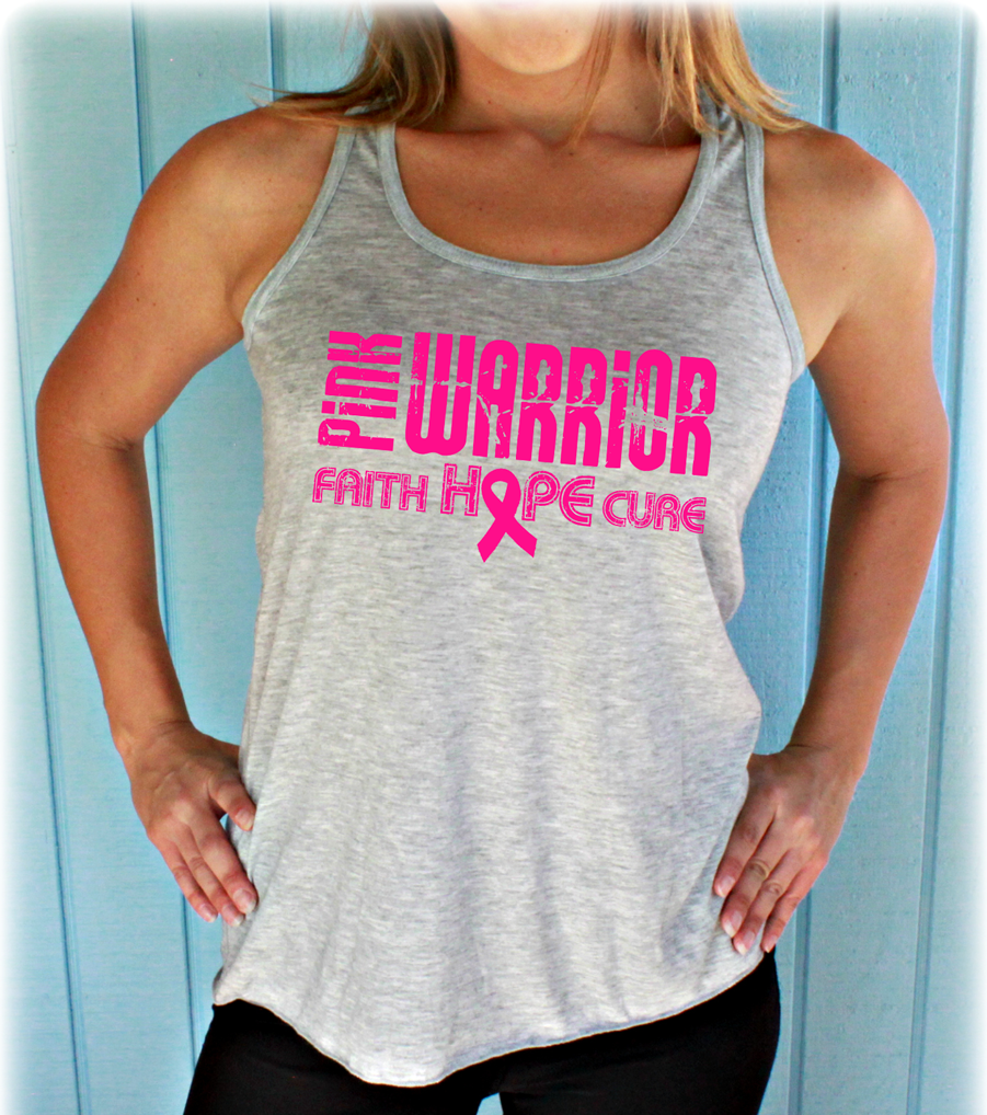 Pink Warrior Faith Hope Cure Breast Cancer Flowy Tank Top