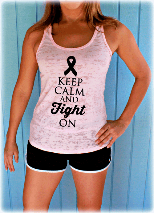 Keep Calm and Fight On Breast Cancer Month Burnout Tank Top.