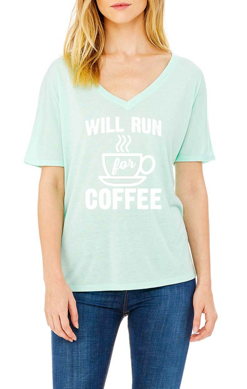 Will Run for Coffee V-Neck Flowy T-Shirt