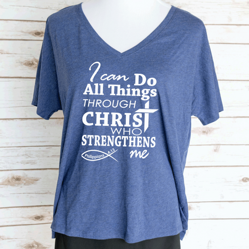 I Can Do All Things Through Christ Bible Verse Slouchy V-Neck T-Shirt. Philippians 4:13.