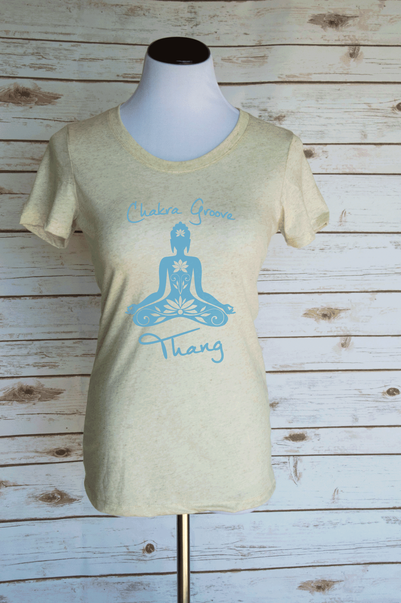 Chakra Groove Thang Casual Graphic T-Shirt. Funny Yoga Quote. Scoop Neck Triblend Tee.