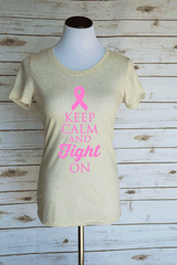Keep Calm and Fight On Breast Cancer Shirt. Scoop Neck Triblend T-Shirt