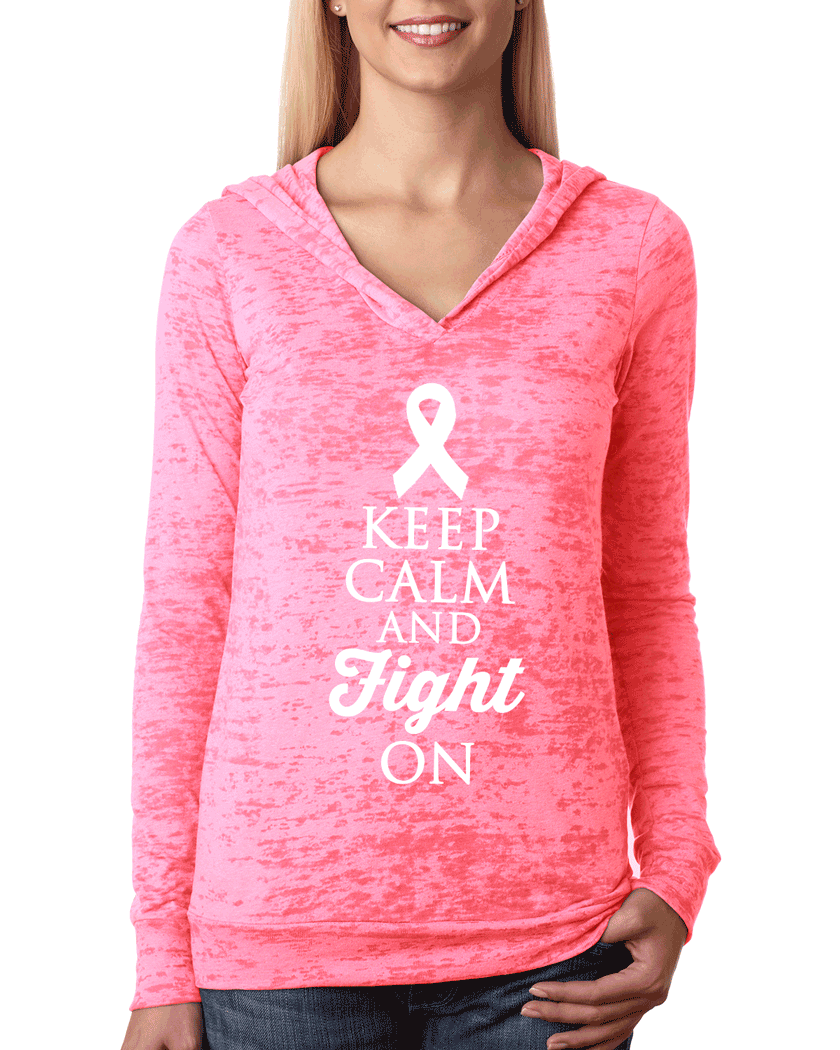Keep Calm and Fight On Breast Cancer Hoodie. Breast Cancer Awareness Month.