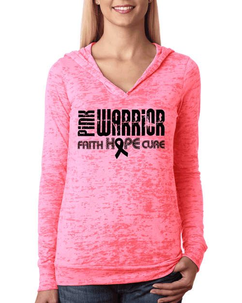 Pink Warrior Faith Hope Cure Breast Cancer Hoodie. Breast Cancer Awareness Month.