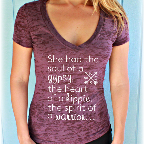 She Had the Soul of a Gypsy Womens Burnout Yoga V-Neck T-Shirt