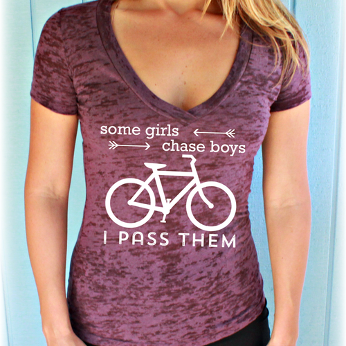 Some Girls Chase Boys I Pass Them Womens Burnout Bike V-Neck T-Shirt