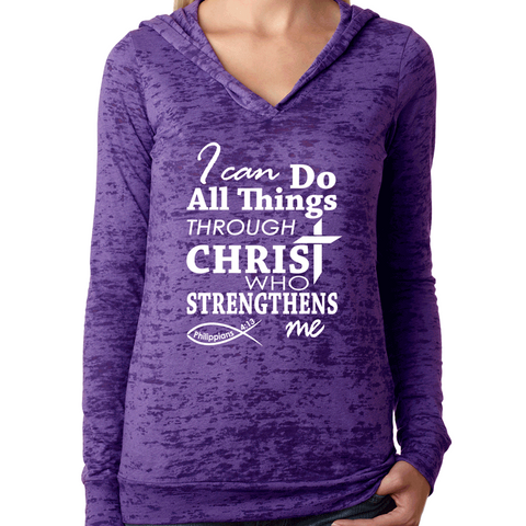 Suffering Produces Hope Romans 5: 3-4 Bible Verse Womens Burnout Hoodie
