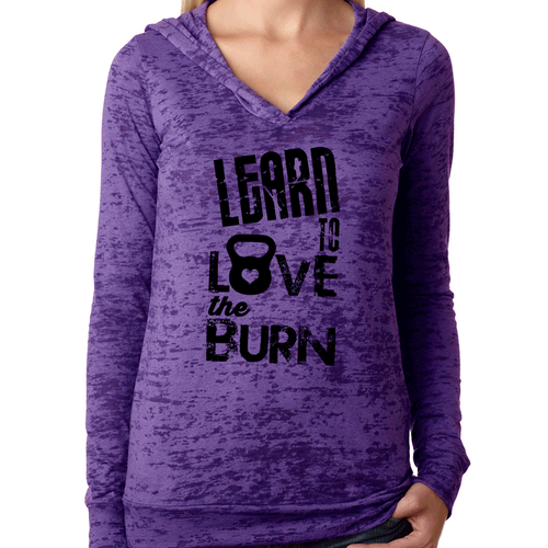 Learn to Love the Burn Womens Pullover Fitness Workout Hoodie