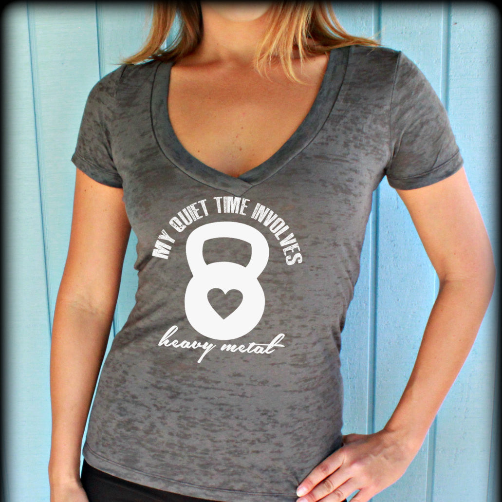 Womens workout v neck t shirt my quiet time involves for T shirts for gym workout