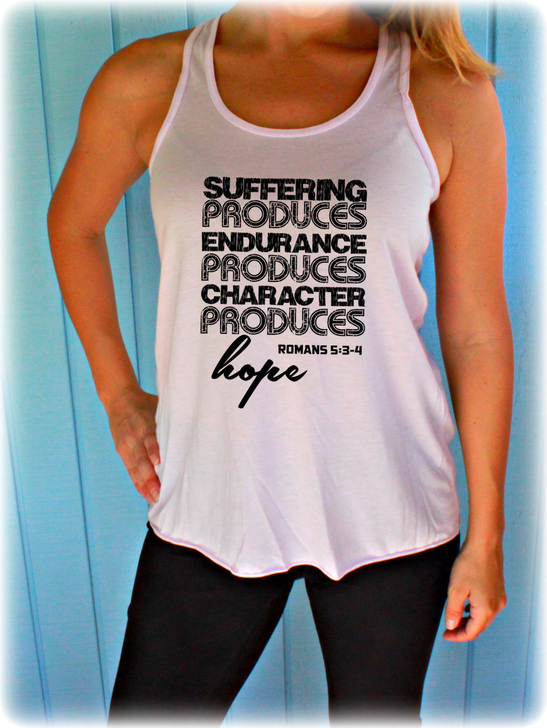 Womens Workout Tank. Flowy Exercise Tank. Suffering Hope Bible Verse. Fitness Apparel. Workout Inspiration. Christian Clothing.
