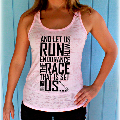 Womens Workout Gym Tank. Burnout Tank Top. Race Set Before Us Bible Verse. Running Tank Top. Christian Inspired Workout Apparel.
