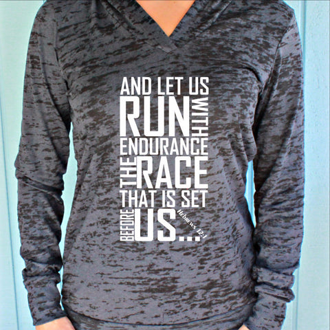 Womens Workout Hoodie. Keep Running the Race Hebrews 12 1 Bible Verse. Running Burnout Hoodie. Christian Clothing. Workout Inspiration.