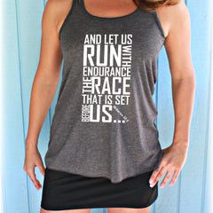 Christian Womens Flowy Workout Tank Top. Keep Running the Race Bible Verse. Running Tank Top.