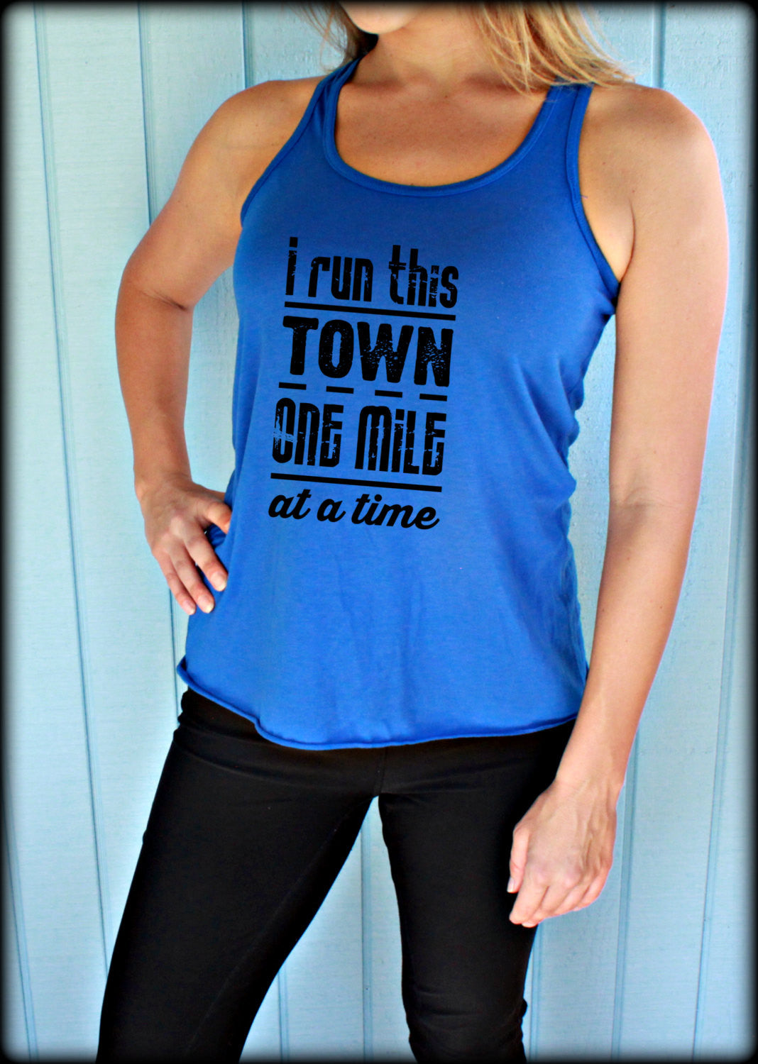 Womens Flowy Running Tank Top. I Run This Town One Mile At A Time. Motivational Workout Clothing. Workout Inspiration.