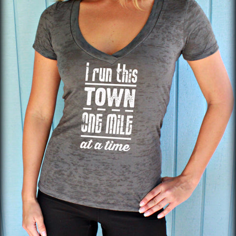 Womens Burnout Workout T Shirt. I Run This Town. Motivational Workout Clothing. V Neck T Shirt. Running Shirt.