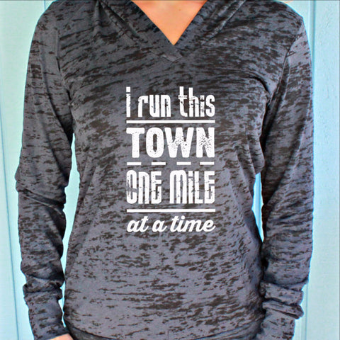 Womens Pullover Fitness Workout Hoodie. I Run This Town. Running Burnout Hoodie. Motivational Shirt.