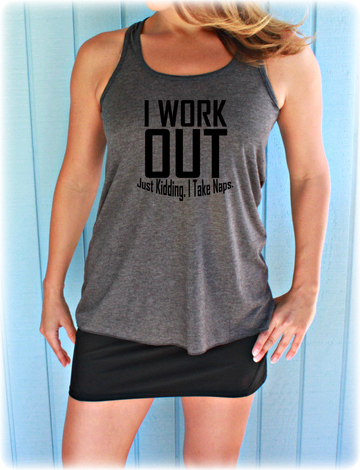 9e8673f56 Womens Motivational Workout Tank Top. Fitness Motivation. I Workout. Just  Kidding I Take