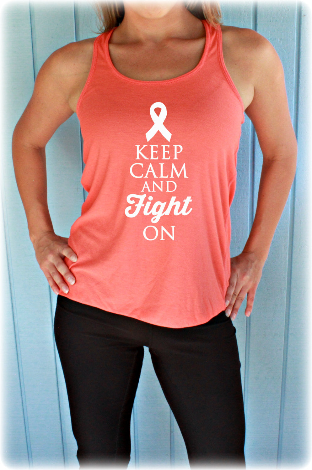 Keep Calm And Fight On Breast Cancer Flowy Tank Top.