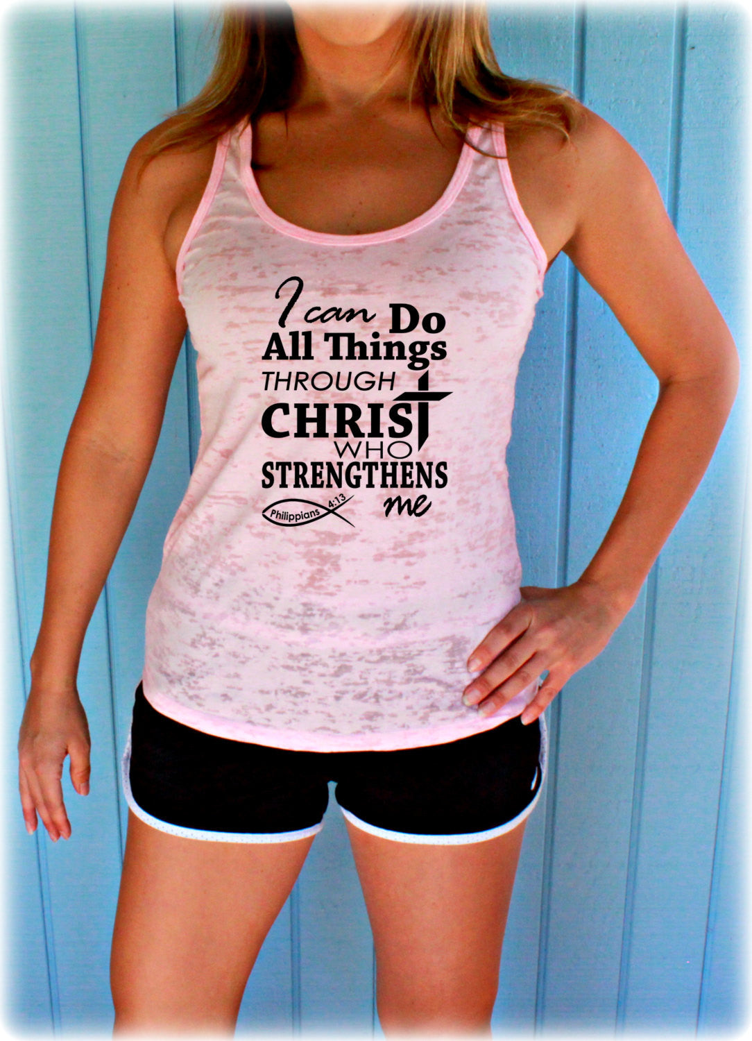 Womens Burnout Workout Tank Top. I Can Do All Things Through Christ. Phillipians 4 13 Bible Verse. Christian Workout Clothing.